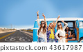 hippie friends over minivan car on us route 66 43617987