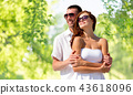 happy smiling couple in sunglasses 43618096