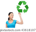 happy woman drawing green recycle symbol 43618107