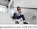 businessman with smartphone and coffee at office 43618136
