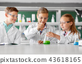 kids with test tube studying chemistry at school 43618165