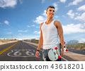 man with skateboard over us route 66 background 43618201