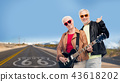 senior couple with guitar over route 66 43618202