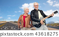 senior couple with electric guitar over route 66 43618275