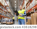 warehouse worker with clipboard in safety vest 43618298