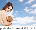 mother breast feeding baby over sky background 43618516