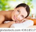 close up of beautiful woman having massage at spa 43618517