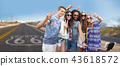 hippie friends taking selfie over us route 66 43618572
