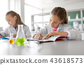 kids studying chemistry at school laboratory 43618573