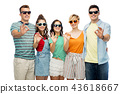 friends in sunglasses showing ok hand sign 43618667