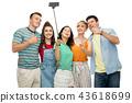 friends taking selfie by smartphone 43618699
