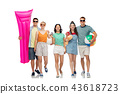happy friends with beach and summer accessories 43618723