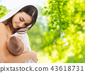 mother breast feeding baby over natural background 43618731