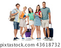 friends with travel bags, air tickets and camera 43618732