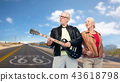 senior couple with electric guitar over route 66 43618798