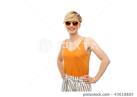 happy smiling young woman over white background 43618885