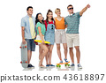friends with skateboards over white background 43618897