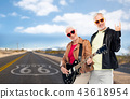 senior couple with electric guitar over route 66 43618954