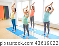 happy pregnant women exercising on mats in gym 43619022