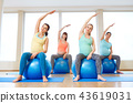 pregnant women training with exercise balls in gym 43619031