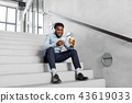 businessman in phones with smartphone on stairs 43619033