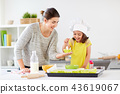 happy mother and daughter baking cupcakes at home 43619067