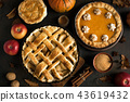 Thanksgiving pumpkin and apple pies 43619432