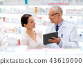 apothecary and customer with tablet pc at pharmacy 43619690