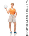 smiling teenage girl with volleyball 43619775