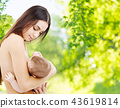 mother breast feeding baby over natural background 43619814