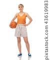 smiling teenage girl in headphones with basketball 43619983
