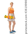 smiling teenage girl with skateboard over white 43619990
