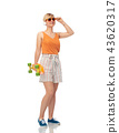 smiling teenage girl with skateboard over white 43620317