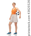 smiling teenage girl with soccer ball 43620326
