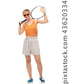 smiling teenage girl with tennis racket 43620334