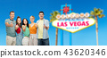 happy friends showing thumbs up at las vegas sign 43620346