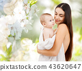 mother with baby in bath towel 43620647