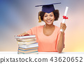 african graduate student with books and diploma 43620652