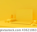 Minimal concept, Laptop on table Work desk  yellow 43621063