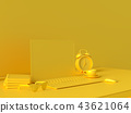 Minimal concept, Laptop on table Work desk  yellow 43621064