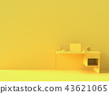 Minimal concept, Laptop on table Work desk  yellow 43621065