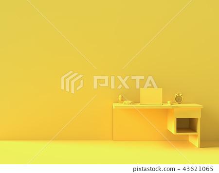 Minimal concept, Laptop on table Work desk  yellow 43621065