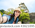 charming girl in a hat taking selfie happily. 43621095