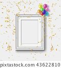 white frame on white wall with colorful ballooon 43622810