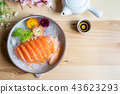 Salmon sashimi slice fresh serve on ice with tea 43623293
