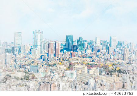 city skyline in japan, mix sketch and watercolor 43623762