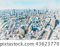 city skyline in japan, mix sketch and watercolor 43623770