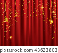Gold confetti celebration on red curtain 43623803