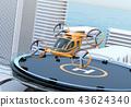 헬리포트에서 이륙 한 비행 택시의 컨셉 이미지 43624340