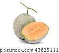 whole and half japanese melons, orange melon  43625111